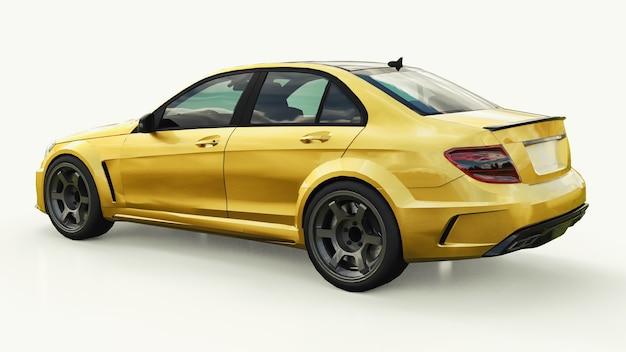 Carro esportivo super rápido de cor ouro metálico em um fundo branco. sedan em forma de corpo. o tuning é uma versão de um carro familiar comum. renderização 3d.