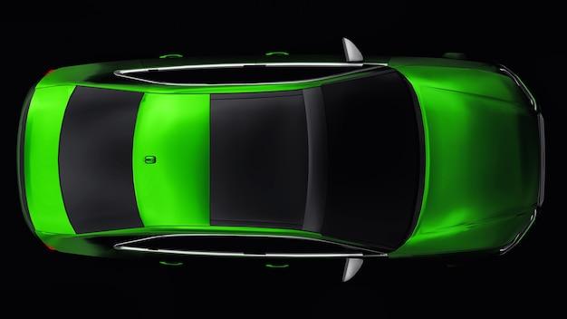 Carro esportivo super rápido de cor verde metálico em um fundo preto. sedan em forma de corpo. o tuning é uma versão de um carro familiar comum. renderização 3d.
