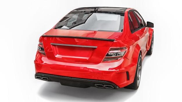 Carro esportivo super rápido de cor vermelha metálica em um fundo branco. sedan em forma de corpo. o tuning é uma versão de um carro familiar comum. renderização 3d.