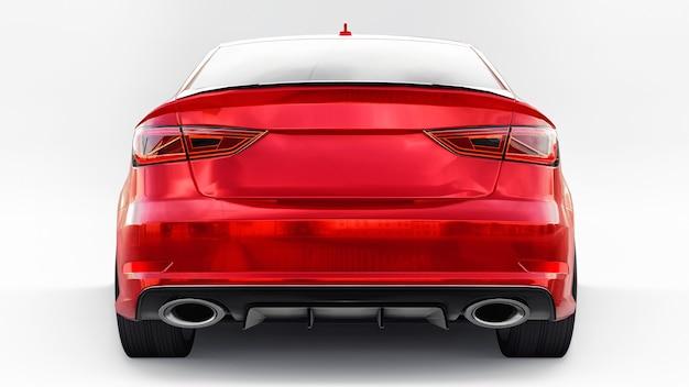Carro esportivo super rápido de cor vermelha metálica em uma superfície branca