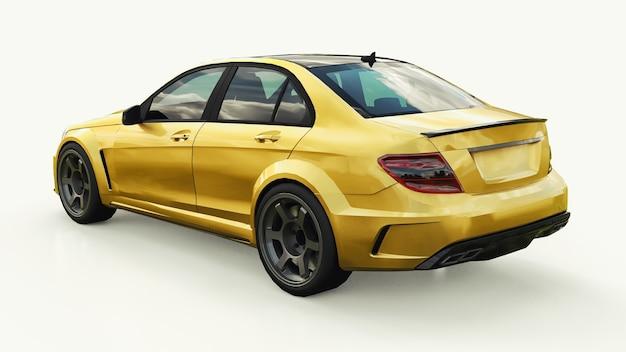 Carro esportivo super rápido em cor ouro metálico em um fundo branco forma de sedan