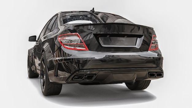 Carro esportivo super rápido preto sobre fundo branco forma do sedã