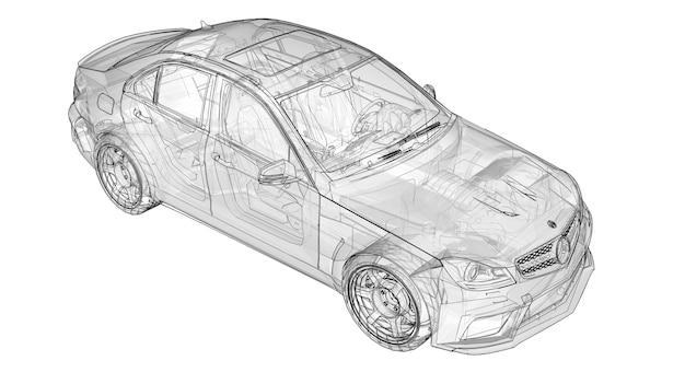Carro esportivo super rápido transparente delineado linhas em um fundo branco. sedan em forma de corpo. o tuning é uma versão de um carro familiar comum. renderização 3d. Foto Premium