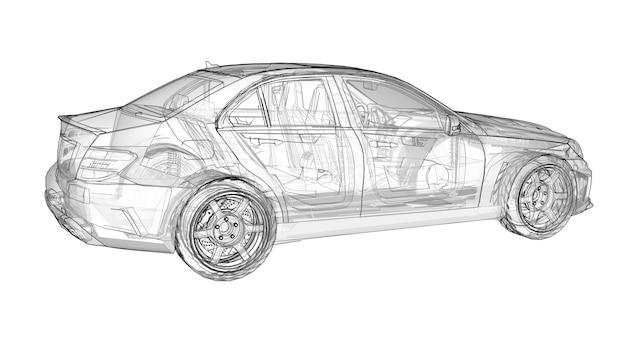 Carro esportivo super rápido transparente delineado linhas em um fundo branco. sedan em forma de corpo. o tuning é uma versão de um carro familiar comum. renderização 3d.