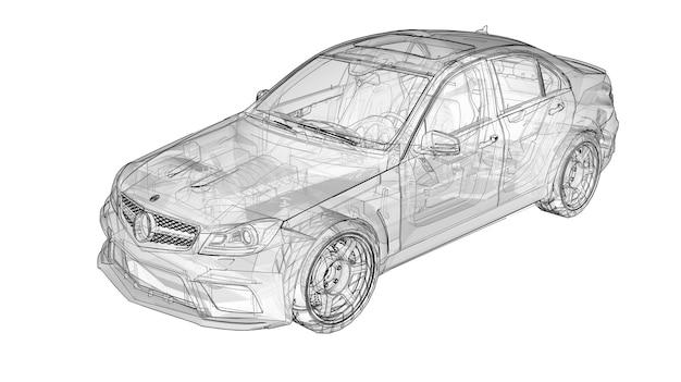 Carro esportivo super rápido transparente delineado linhas em um fundo branco
