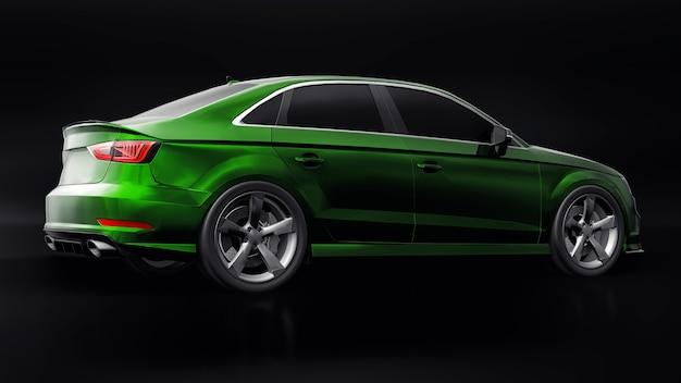 Carro esportivo verde metálico em fundo preto forma do sedã