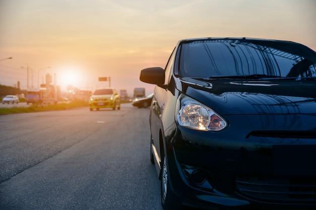 Carro, estacionado, ligado, estrada, car, estacionado, ligado, rua