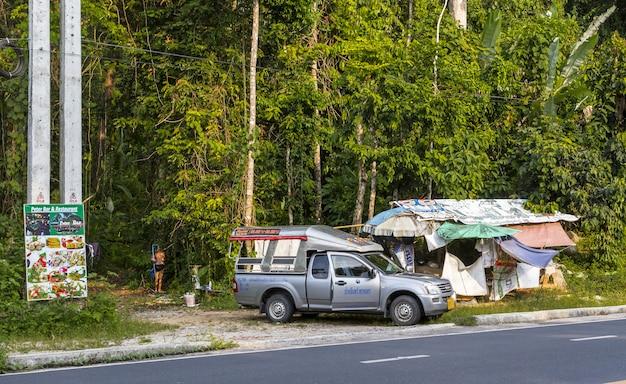Carro estacionado na beira da estrada perto da floresta