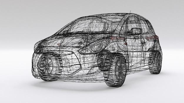 Carro familiar pequeno, design de malha. renderização 3d.