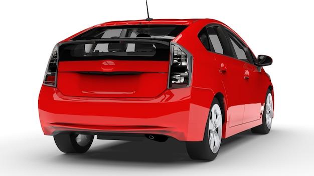 Carro híbrido familiar moderno vermelho em uma superfície branca com uma sombra no chão