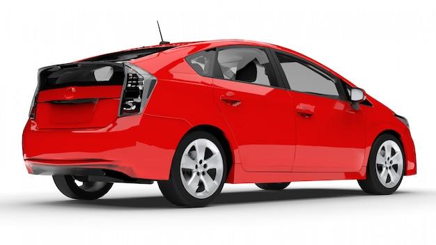 Carro híbrido moderno da família vermelho sobre um fundo branco com uma sombra no chão