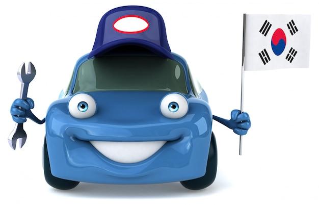 Carro ilustrado divertido segurando a bandeira da coreia do sul