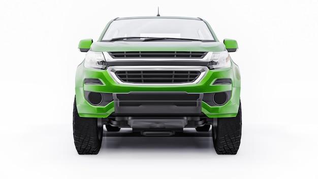 Carro picape verde sobre um fundo branco. renderização 3d.