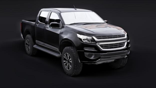 Carro pick-up preto sobre um fundo preto. renderização 3d.