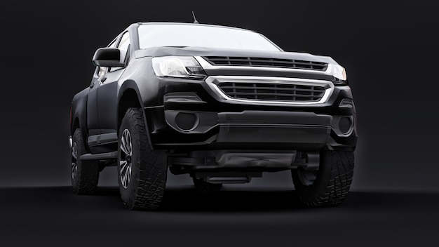 Carro pickup preto em um fundo preto renderização 3d