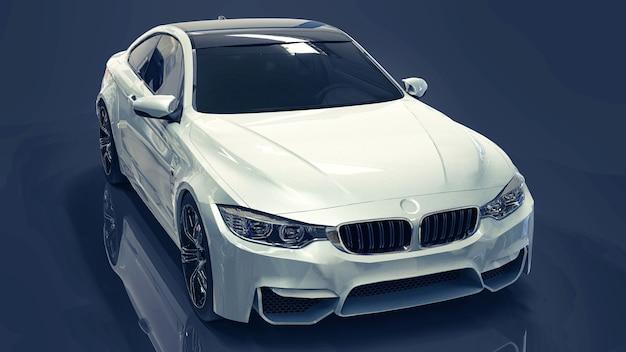 Carro premium branco. ilustração tridimensional em um fundo azul escuro. renderização 3d.