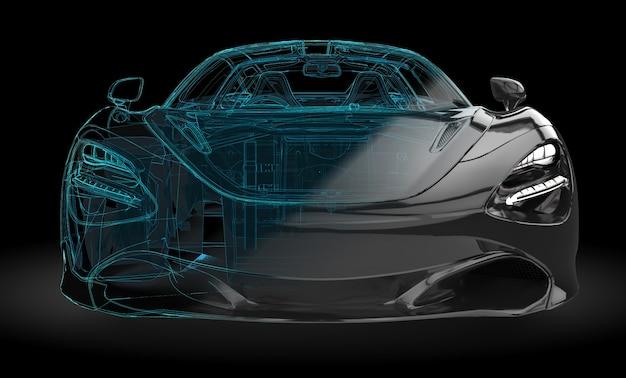 Carro preto com interseção de wireframe