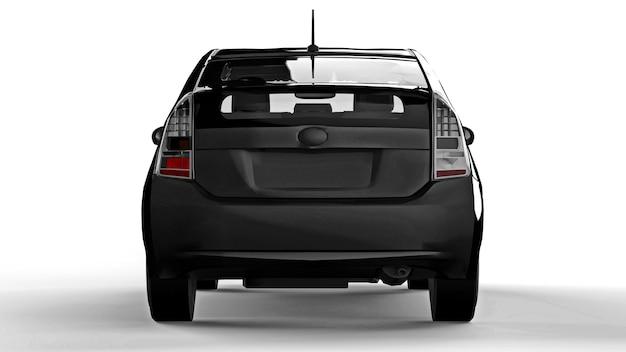 Carro preto híbrido da família moderna sobre um fundo branco com uma sombra no chão. renderização 3d.
