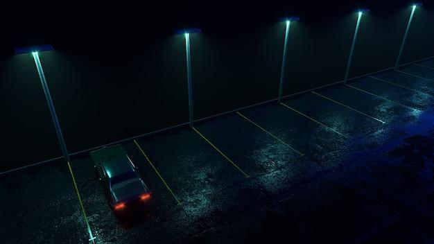 Carro retrô solitário em estacionamento vazio na chuva