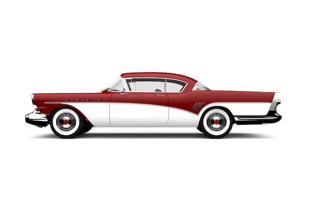 Carro retrô vermelho e branco