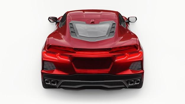 Carro super esportivo ultramoderno vermelho com um layout de motor central em um fundo branco isolado. um carro para correr em pista e em recta. ilustração 3d.