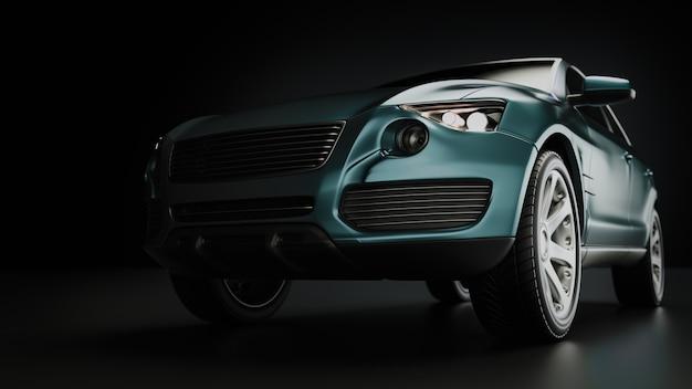 Carro suv azul em fotografia de estúdio. renderização 3d e ilustração.