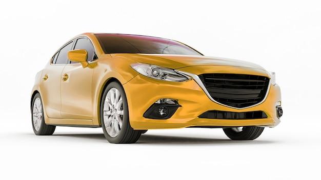 Carro urbano amarelo com superfície em branco para renderização 3d de design criativo