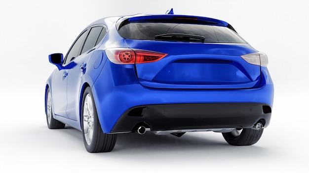 Carro urbano azul com superfície em branco para renderização 3d de design criativo