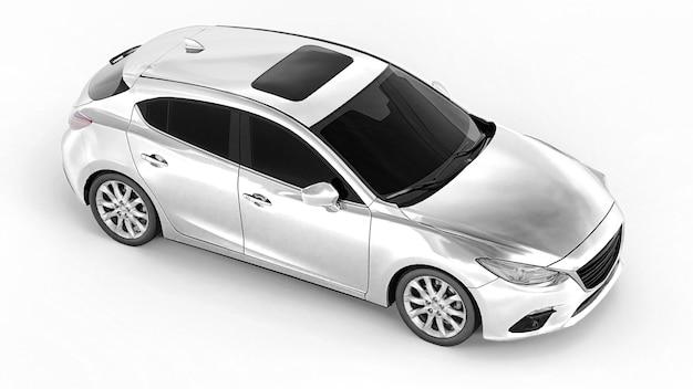 Carro urbano branco com superfície em branco para seu design criativo. renderização 3d.