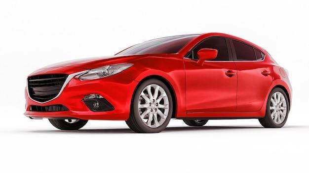 Carro urbano vermelho com superfície em branco para seu design criativo, renderização em 3d