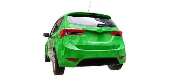 Carro verde da cidade com superfície em branco para seu design criativo. ilustração 3d.