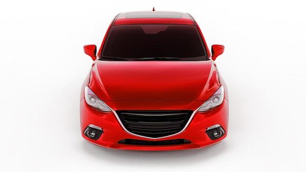 Carro vermelho da cidade com superfície em branco para seu design criativo. renderização 3d.