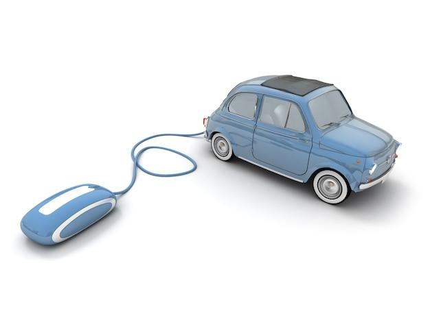 Carro vintage azul conectado a um mouse de computador