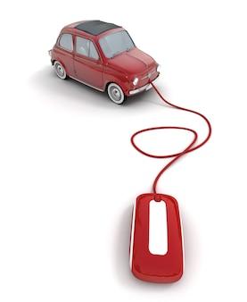 Carro vintage vermelho conectado a um mouse de computador