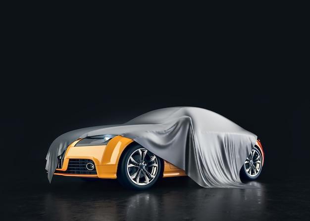 Carros amarelos cobertos de tecido