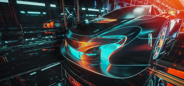Carros de alta tecnologia e renderização em 3d e ilustrador cibernético de logística