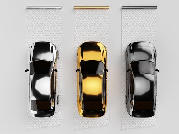 Carros envoltos em filme cromado
