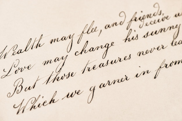 Carta antiga com texto manuscrito. fundo de textura vintage grunge