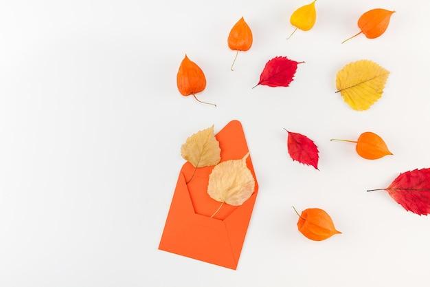 Carta com flores secas de laranja e folhas de outono