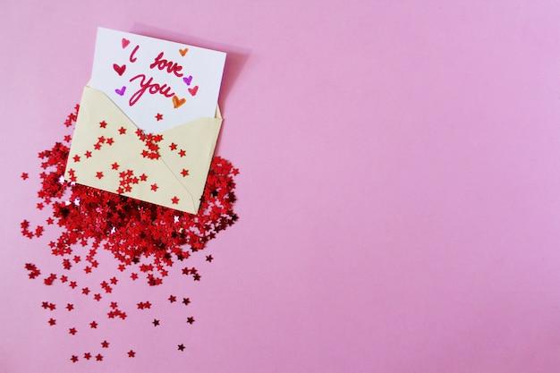 Carta de amor com estrelas vermelhas