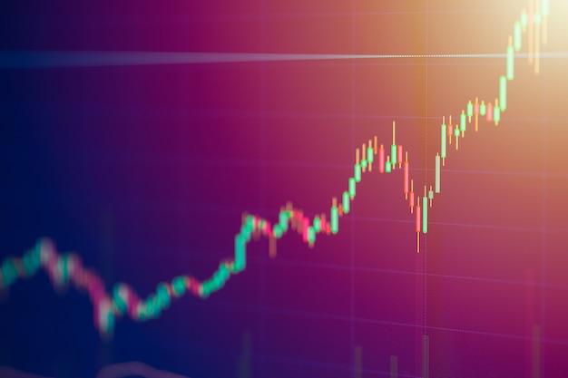Carta de barra da vela da tela de monitor da bolsa de valores do conceito acima crescido do valor de negócio.