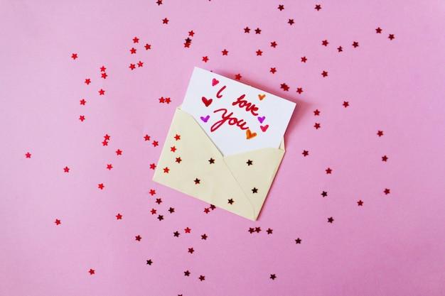 Carta de dia dos namorados com estrelas vermelhas