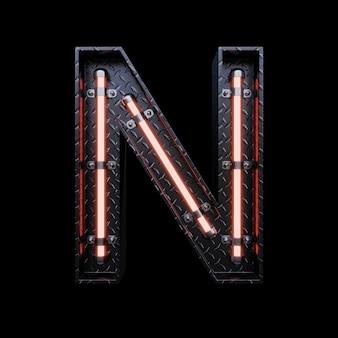 Carta de luz de neon a com luzes de neon vermelhas.