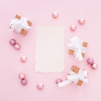 Carta de natal feita com matiz rosa