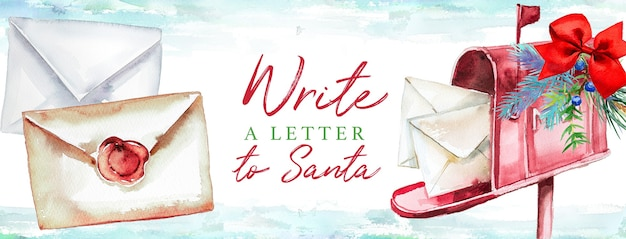 Carta em aquarela para o papai noel em uma caixa de correio decorada. conceito de natal.