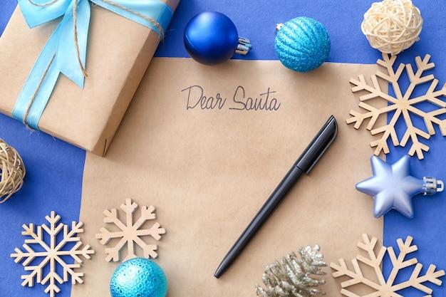 Carta para o papai noel e decoração de natal em cores