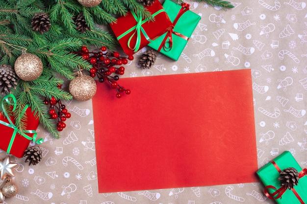 Carta vermelha de natal. lista de desejos vazia para o papai noel. cartão de natal. lista de desejos vermelha vazia para o papai noel.