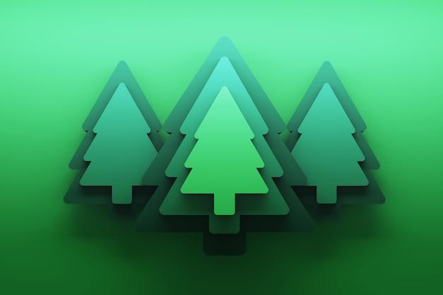 Cartão com árvores de natal verdes sobre verde