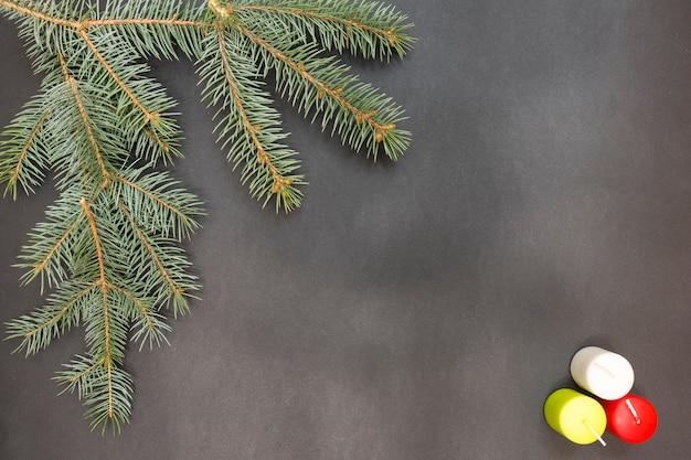 Cartão com decoração festa feliz natal e feliz ano novo