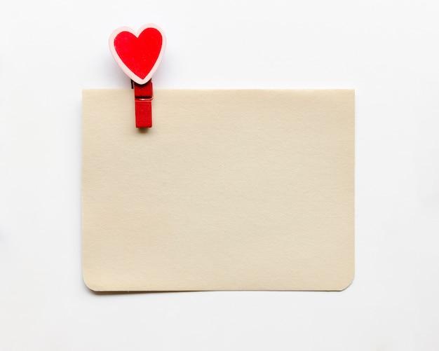 Cartão com gancho em forma de coração